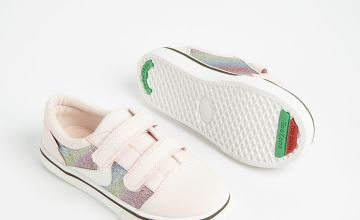 TOEZONE Pink Rainbow Glitter Canvas Trainers