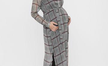 MAMALICIOUS Grey & Red Check Maternity Tunic