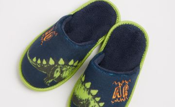 Navy & Green Dinosaur Mule Slippers