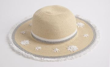 Cream Woven Flower Straw Sun Hat