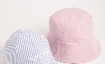 Blue & White Stripe Cap & Pink Bucket Hat 2 Pack