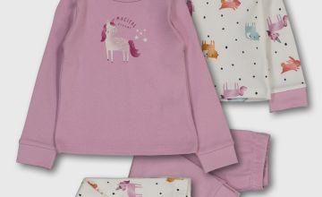 Mauve 'Magical Dreams' Unicorn Print Pyjamas 2 Pack