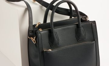 Black Faux Leather Handbag - One Size