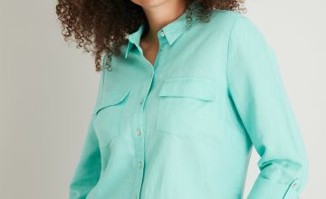 Mint Green Linen-Rich Utility Shirt