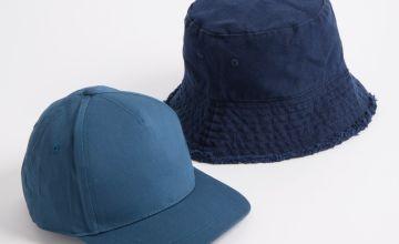 Navy Bucket Hat & Teal Cap 2 Pack