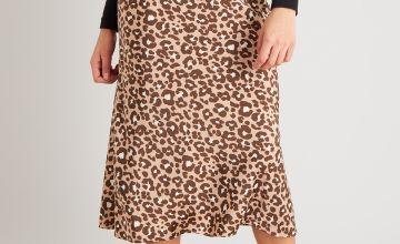 Leopard Print Scuba Midi Skirt