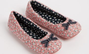 Pink & Navy Floral Print Ballerina Slippers