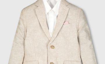 Beige Linen Blend Formal Jacket