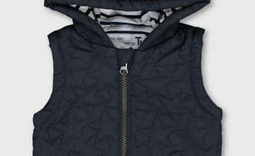 Navy Embroidered Star Gilet With Hood