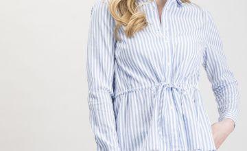 Blue & White Stripe Drawstring Waist Shirt