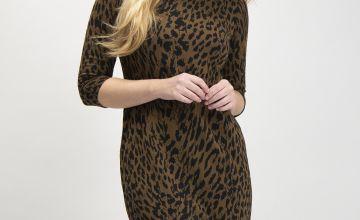 Brown Leopard Print Jacquard Dress