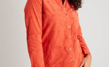 Orange Floral Embroidery Corduroy Shirt