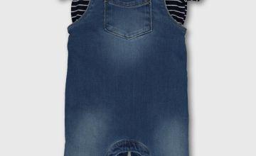 Denim Dungarees & Striped Polo Bodysuit