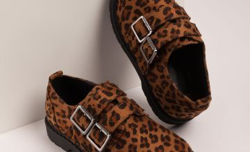 Leopard Print Double Buckle Shoe