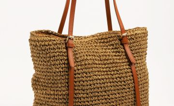 Natural Paper Straw Shopper Bag - One Size