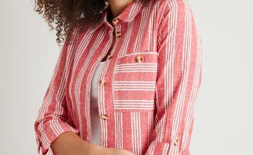 Red Deckchair Stripe Shirt With Linen