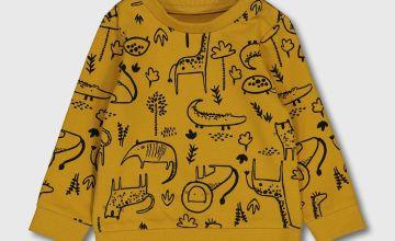 Mustard Yellow Safari Print Sweatshirt