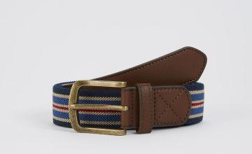 Navy Stripe Canvas Belt