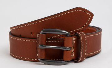 Tan Chunky Stitch Genuine Leather Belt
