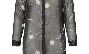 Black Constellation & Moon Print Long Shirt