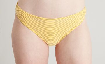 Yellow & White Textured Stripe Bikini Briefs