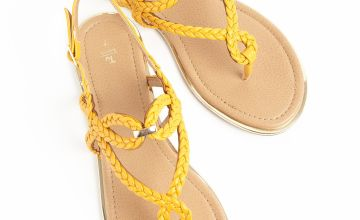 Yellow Cross Over Plait Sandals