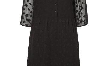 JUNAROSE Black Star Cut Pattern Velvet Dress