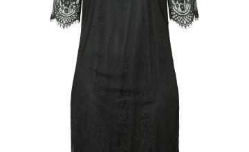 JUNAROSE Black 2/4 Sleeve Midi Dress