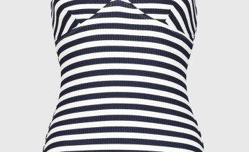 Navy Stripe Textured Swimsuit