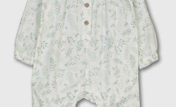 White & Green Leaf Print Romper