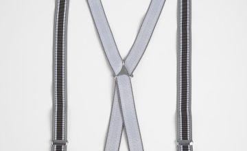 Grey & Navy Stripe Braces - One Size