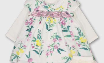 Floral Print Bodysuit Dress With Socks