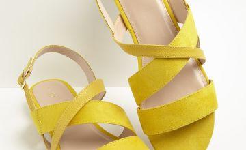 Yellow Cross Strap Sandals