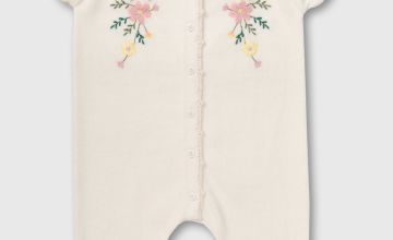 Cream Knitted Romper With Floral Embroidery