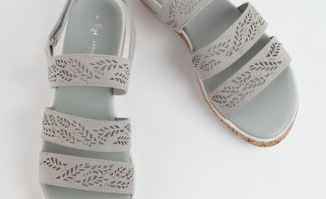 Sole Comfort Grey Leaf Cut-Out Wedge Sandal