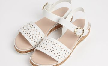 White Cut Out Wedge Sandals