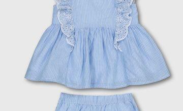 Blue Woven Stripe Blouse With Bloomers & Headband - Newborn