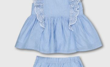 Blue Woven Stripe Blouse With Bloomers & Headband