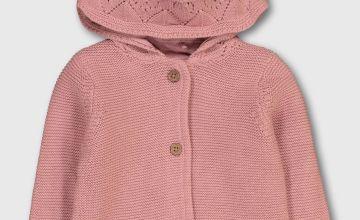Pink Crochet Detail Hooded Cardigan - Newborn