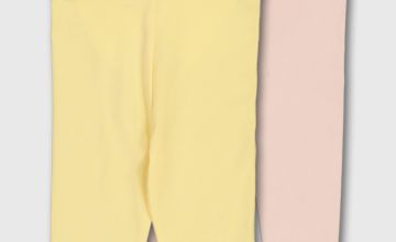 Yellow & Pink Frill & Bow Rear Leggings 2 Pack - Newborn