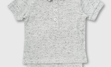 Grey Fleck Pique Polo Shirt Style Bodysuit