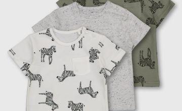 Khaki & Grey Zebra Print & Fleck T-Shirt 3 Pack - Newborn