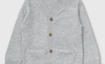 Grey V-Neck Cardigan - Newborn