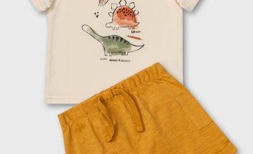 Dinosaur T-Shirt & Mustard Shorts