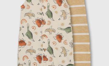 Dinosaur & Stripe Romper 2 Pack