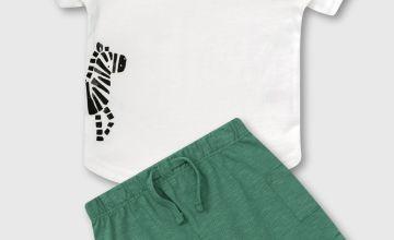 White Zebra T-Shirt & Green Shorts Set