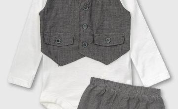 Waistcoat-Style Bodysuit & Shorts