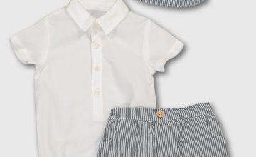 White Shirt & Striped Bucket Hat & Shorts Set