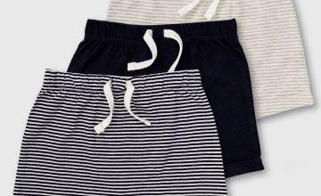 Stripe & Plain Jersey Short 3 Pack