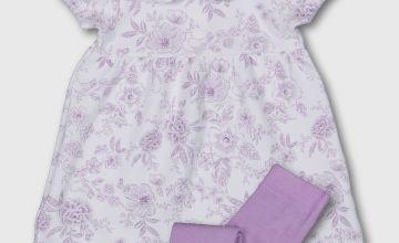 Lilac & White Floral Dress, Tights & Headband